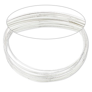 memory wire, silver-plated stainless steel, 1-3/4 inch bracelet, 0.65-0.75mm thick. sold per 1-ounce pkg, approximately 60 loops.