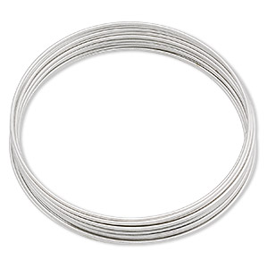 memory wire, stainless steel, 1-3/4 inch bracelet, 0.65-0.75mm thick. sold per pkg of 12 loops.