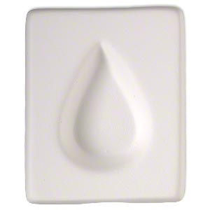mold, ceramic, white, (1) 34x22mm flat-sided teardrop, 2-1/2 x 2 inches overall. sold individually.