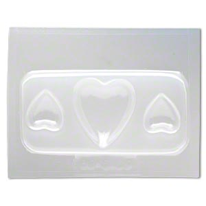 mold, deep flex™, plastic, (1) 38x33mm heart and (2) 21x19mm heart. sold individually.