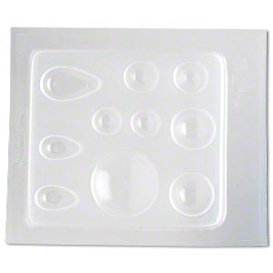 mold, deep flex™, plastic, semitransparent clear, 14mm-31x18mm assorted round and teardrop. sold individually.