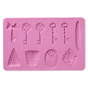 mold, silicone, fuchsia, 6-1/4 x 4 x 1/4 inches with 30x28mm-56x10mm multi-shape. sold individually.