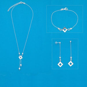 necklace / bracelet / earring, sterling silver, 1-15/16 inch dangle with diamond-cut ball and square, 18-inch necklace with 2-inch extender chain and lobster claw clasp, 7-1/5 inch bracelet with lobster claw clasp, 2-3/8 inch earrings with post. sold per set.