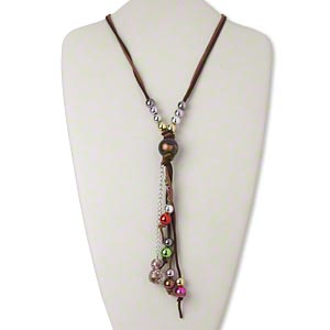 necklace, 2-strand, lampworked glass / acrylic / velveteen / silver-finished steel, multicolored, 56 inches with 7-1/2 inch dangle and tie closure. sold individually.
