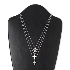 necklace, 3-strand, glass with silver-plated brass and pewter (zinc-based alloy), clear, 16.5x12mm cross and open cross, 17-1/2 inches with 3-inch extender chain and lobster claw clasp. sold individually.