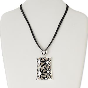 necklace, 4-strand, silver-plated steel and pewter (zinc-based alloy) / epoxy / waxed cotton cord, black and white, 57x40mm open rectangle with flower design, 16 inches with 3-inch extender chain and lobster claw clasp. sold individually.
