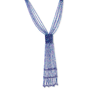 necklace, 6-strand, acrylic and glass, aqua blue ab, 28-inch hand-knitted. sold individually.