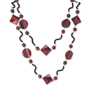 necklace, acrylic / steel / silicone, dark red and black, 10mm round / 24mm twisted flat round / 28x28mm twisted diamond, 56-inch continuous loop. sold individually.
