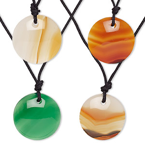 necklace, agate (dyed / heated) and nylon, assorted colors, 18-20mm round, 16-20 inch adjustable. sold per pkg of 4.