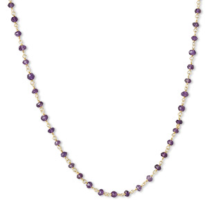 necklace, amethyst (natural) and gold-finished sterling silver, 3.5-4mm faceted rondelle, 18 inches with s-hook clasp. sold individually.