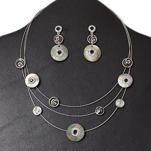 necklace and earring, 3-strand, antique silver-plated pewter (zinc-based alloy) and steel / glass rhinestone / enamel / black lip shell (natural), open flat round, 16-inch necklace with lobster claw clasp and 3-inch extender chain, 1-3/4 inch earring with post. sold per set.