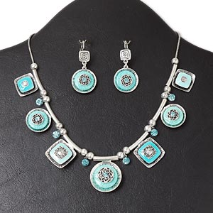 necklace and earring, antique silver-plated pewter (zinc-based alloy) and steel / enamel / glass rhinestone / resin, blue / turquoise blue / aqua, flat round and square, 16-inch necklace with lobster claw clasp and 3-inch extender chain, 1-3/4 inch earring with leverback earwire. sold per set.