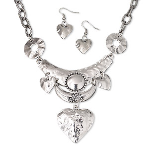 necklace and earring, antique silver-plated pewter (zinc-based alloy) and steel, hammered hearts on 3-inch dangle, 15 inches with 3-inch extender chain and lobster claw clasp, 38x17mm earrings with fishhook earwire. sold per set.