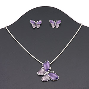 necklace and earring, enamel / czech glass rhinestone / silver-finished brass / steel / pewter (zinc-based alloy), purple / lavender / clear, 42x40mm butterfly, 16 inches with 3-inch extender chain and lobster claw clasp, 22x16mm butterfly with post. sold per set.