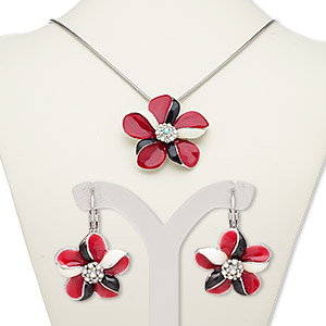 necklace and earring, enamel / glass rhinestone / silver-plated brass / steel / pewter (zinc-based alloy), multicolored, 57x55mm flower, 18-inch necklace with 2-inch extender chain and lobster claw clasp, 30mm earrings with leverback earwire. sold per set.