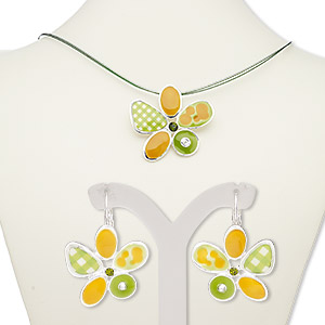 necklace and earring, enamel / glass rhinestone / silver-plated steel / pewter (zinc-based alloy), green / light green / golden yellow, 52x49mm flower, 18-inch necklace with 2-inch extender chain and lobster claw clasp, 32mm earrings with leverback earwire. sold per set.