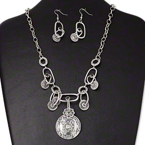 necklace and earring, glass / antique silver-plated pewter (zinc-based alloy) / steel, clear, 35mm flat round with center cabochon, 16-inches with 2-inch extender chain and lobster claw clasp, 57x14mm earrings with fishhook earwire. sold per set.