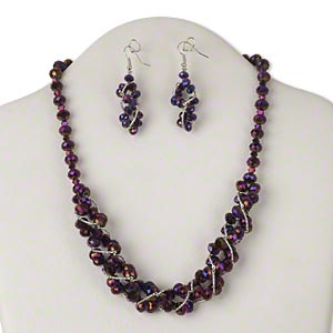 necklace and earring, glass with silver-finished brass and steel, metallic dark purple, 18 inches with 2-inch extender chain and lobster claw clasp, 59x12mm earring with fishhook earwire. sold per set.