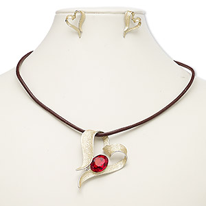 necklace and earring, leather (dyed) / enamel / glass / imitation rhodium-plated steel / brass / pewter (zinc-based alloy), brown / matte gold / red, 59x43mm heart, 18-inch necklace with 2-inch extender chain and lobster claw clasp, 23.5x17mm heart with post. sold per set.
