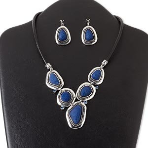 necklace and earring, leather (dyed) / glass rhinestone / resin / silver-coated plastic / antique silver-finished brass / pewter (zinc-based alloy), dark blue, freeform, 16 inches with 3-inch extender chain and lobster claw clasp, 1-1/2 inch earring with leverback earwire. sold per set.
