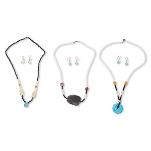 necklace and earring mix, steel / multi-gemstone (natural / dyed / imitation) / glass, multicolored, 4x3mm-35x30mm multi-shape, 16-19 inches, 1 to 1-1/2 inch earring with fishhook earwire. sold per pkg of 3 sets.
