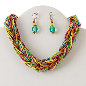 necklace and earring, multi-strand, gold-finished steel and brass with glass, multicolored, 18-inch braid with 2-inch extender chain and lobster claw clasp, 2-inch earrings with leverback earwire. sold per set.