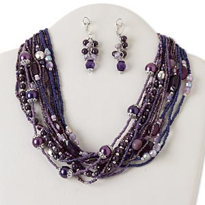 necklace and earring, multi-strand, silver-plated steel and brass / silver-coated plastic / glass, purple, multi-shape, 18 inches with 2-inch extender chain and lobster claw clasp, 2-inch earrings with leaverback earwire. sold per set.
