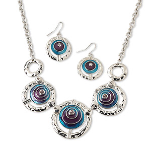 necklace and earring, silver-finished pewter and brass / glass rhinestone / enamel, teal / purple / pink, 17-34mm graduated textured round with cutout design, 18-inch necklace with lobster claw clasp and 1-3/8 inch earring with fishhook earwire. sold per set.
