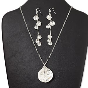 necklace and earring, silver-finished pewter (zinc-based alloy) and steel, 41x37mm brushed cupped teardrop with dangles, 16-inch necklace with lobster claw clasp and 3-inch extender chain, 4-inch earring with fishhook earwire. sold per set.