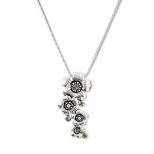 necklace, antique silver-plated pewter (zinc-based alloy) and steel with glass rhinestone, smoke grey, 52x23mm flowers, 16-inch necklace with lobster claw clasp and 3-inch extender chain. sold individually.