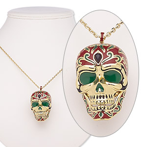 necklace, avant-garde jewelry collection, enamel / glass rhinestone / gold-plated brass, red / green / black, 45x29mm skull with hinged jaw, 24 inches with 2-inch extender chain and lobster claw clasp. sold individually.