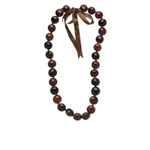 necklace, bibakao seed (natural) and ribbon, brown, 18-24mm round, 28-32 inches knotted with tie closure, adjustable. sold individually.