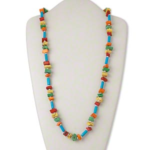 necklace, bone (dyed) and steel, multicolored, large chip, 36-inch continuous strand. sold individually.