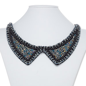 necklace, collar, polyester / plastic / glass, multicolored, 2-1/2 inches wide, 29-1/2 inches with tie closure. sold individually.
