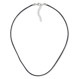 necklace cord, faux suede with imitation rhodium-finished steel and pewter (zinc-based alloy), black, 3mm wide, 18 inches with 2-inch extender chain and lobster claw clasp. sold per pkg of 10.