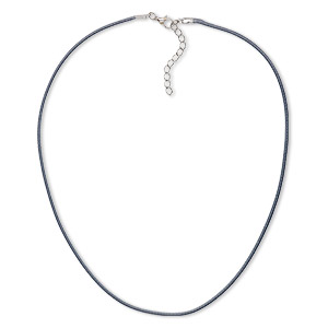 necklace cord, imitation leather with imitation rhodium-finished steel and pewter (zinc-based alloy), dark grey, 2mm wide, 20 inches with 1-1/2 inch extender chain and lobster claw clasp. sold per pkg of 10.