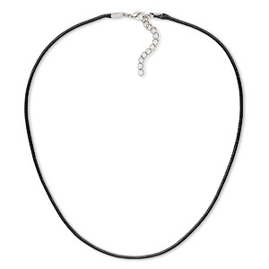 necklace cord, imitation leather with imitation rhodium-finished steel and pewter (zinc-based alloy), black, 2mm wide, 18 inches with 1-1/2 inch extender chain and lobster claw clasp. sold per pkg of 10.