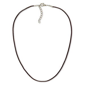 necklace cord, leather and imitation rhodium-plated brass and steel, brown, 2mm round, 16 inches with 2-inch extender chain and lobster claw clasp. sold per pkg of 6.