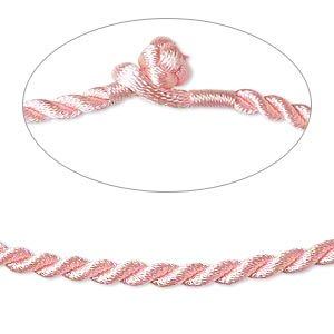 necklace cord, satin-finished nylon, pink, 3mm smooth twist, 16 inches with knot closure. sold per pkg of 2.