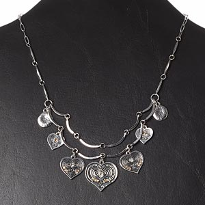 necklace, czech glass rhinestone / antique silver-plated brass / pewter (zinc-based alloy) / steel, topaz brown and clear, heart, 16 inches with 2-inch extender chain and lobster claw clasp. sold individually.