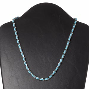 necklace, faux suede / imitation rhodium-plated steel / silver-finished brass, light blue, 6mm wide, 18 inches with 2-inch extender chain and lobster claw clasp. sold individually.