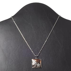 necklace, glass / swarovski crystals / enamel / imitation rhodium-finished pewter (zinc-based alloy), brown and crystal clear, 24x24mm square, 16 inches with 3-inch extender chain and lobster claw clasp. sold individually.