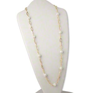 necklace, glass and gold-plated brass, white, marquise link, 34 inches with lobster claw clasp. sold individually.