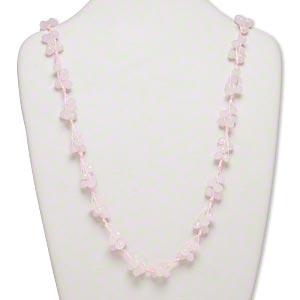 necklace, glass and nylon cord, pink, 8x6mm faceted rondelle, 32-inch continuous loop. sold individually.