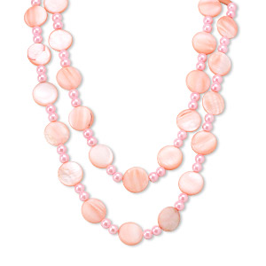 necklace, glass pearl and mother-of-pearl shell (dyed), pink, 20mm flat round and 8mm round, 44-inch continuous loop. sold individually.