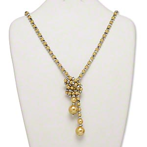 necklace, glass pearl and nylon, yellow and silver, 16mm round, 40-inch adjustable lariat. sold individually.