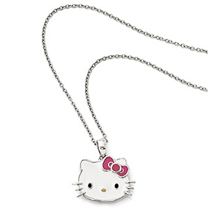 necklace, hello kitty, enamel and sterling silver, multicolored, 19x14mm hello kitty face, 18 inches with springring clasp. sold individually.