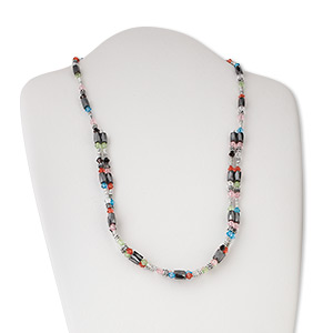 necklace, hemalyke™ (man-made) / acrylic / plastic, magnetic, multicolored, 5x4.5mm faceted bicone and 8.5x5mm faceted tube, 31 inches. sold individually.