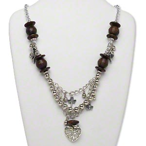 necklace, huangshan pine tree wood and silver-finished plastic, brown, 30x29mm heart focal with mixed size and shape beads and charms, 24 inches with silver-finished brass lobster claw clasp and 1-3/4 inch steel extender chain, 28-inch drape. sold individually.