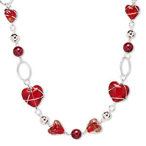 necklace, lampworked glass and silver-plated steel and plastic, red, 29x28mm heart, 37-inch continuous loop. sold individually.